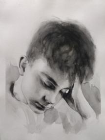 Hoofd en hand (1), aquarel.