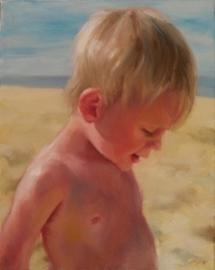 Kind op strand, olieverf op doek, 24x30 cm.