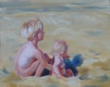 Kindjes op het strand, olieverf op doek, 50x40 cm.