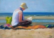 Lezen op het strand, olieverf op paneel, 29x24 cm..