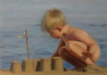 Zandkasteel, olieverf op paneel, 30x20 cm.