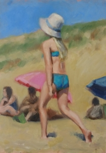 Turquoise bikini, olieverf op paneel, 21x29 cm.