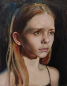 Meisje in wit licht, olieverf op paneel, 20x30 cm.