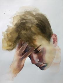 Hoofd en hand (2), aquarel.