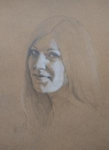 Antoinette (2), potlood en pastel op gekleurd papier.