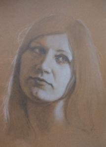 Antoinette, potlood en pastel op gekleurd papier.