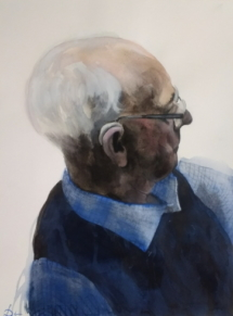 Oudere heer, inkt en aquarel op papier.