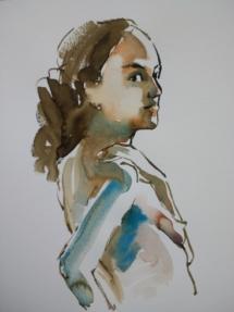 Schets model, aquarel.