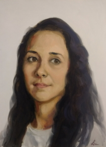 Meisje met zwart haar, olieverf op paneel, 30x40 cm.